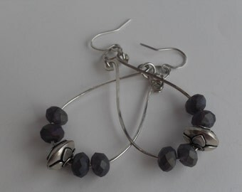 Sterling Silver Wire Earrings with Purple Beads