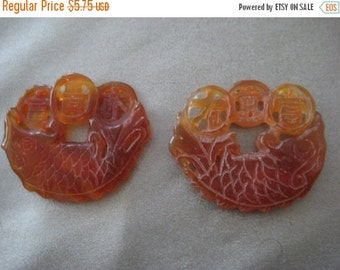 "ON SALE Carnelian Chinese Carved ""Wealth"" Pendant 2pcs"