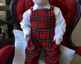 SALE 30%off/Scotland Baby Clothes/ Gender Neutral / Vintage /Toddler Overall/ White Shirt/Glen Appin of Scotland/ Tartan /Two Piece Outfit
