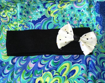 Black , White, and Gold Polka Dot Winter Headband, Covers Ears, Accessories, Ear Warmers