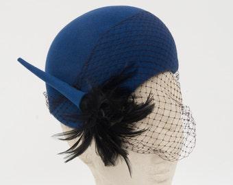 Vintage Handmade Blue velvet woman hat with laice
