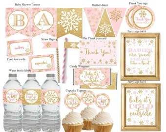 Winter Wonderland Baby Shower Decorations, Winter Baby Shower Decor, Pink  And Gold Baby Shower