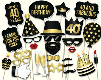 40th birthday photo booth props: printable PDF. Black and gold Forthieth birthday party supplies. Instant download Mustache, lips, glasses
