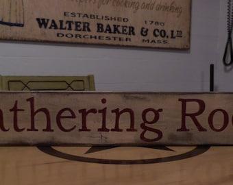 Gathering Room Primitive wood sign vintage sign rustic sign shabby chic wood sign old wood sign