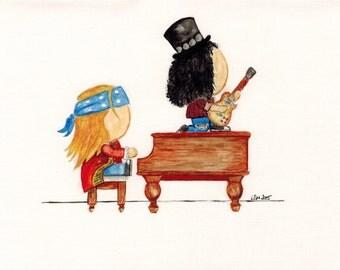 Slash and Axl Rose of Guns N' Roses - A5 watercolour paper print