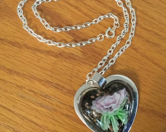 Glass & Silver Lava Heart Pendant Necklace