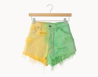 Lemon and Lime Studded Dip Dye Shorts