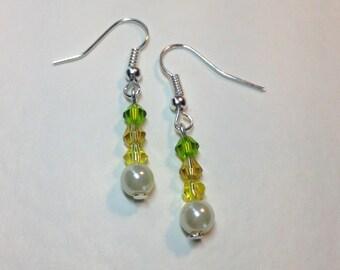 "Handmade ""Citrus"" Crystal and Pearl Earrings"