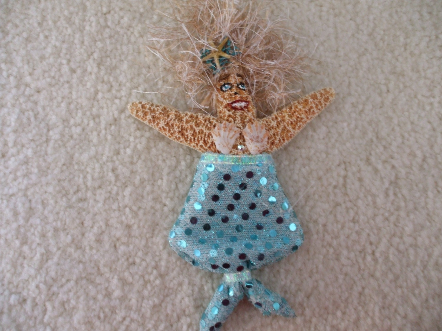 mermaid starfish ornament or tree topper for coastal or beach. Black Bedroom Furniture Sets. Home Design Ideas