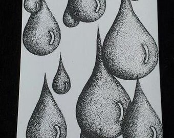"Rain - 4"" X 6"" Stippling print on cardstock."