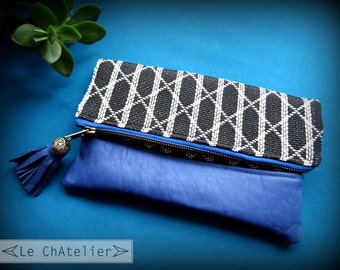 Cosmetic and makeup case / Ethnic Leather pouch / Zipper - Foldover Clutch bag / Bridesmaid clutch / Bohostyle bag / Blue leather clutch