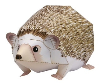 Paper toy hedgehog for self-assembly, Printable A4 PDF and JPEG, Easy to use. Instant Download. Hedgehog, Urchin, Digital Pattern Animals.