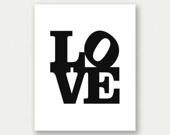 Love Sign, Philadelphia Love Sign, Typography Poster, Word Art, Love Printable, Love Print, Love Art Print, Black And White Decor, Love Art