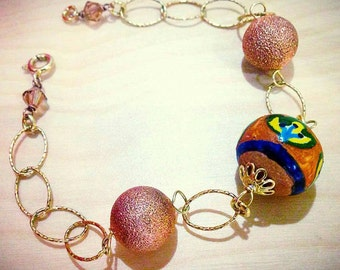 Bracelet in silver plated handmade ceramics. Available for immediate delivery.