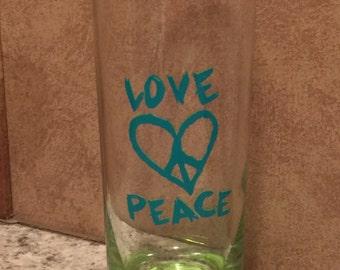 Glass 10 oz Teal Love/Peace vinyl decal