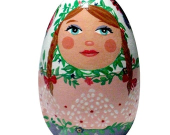 Vine Lady Matryoshka Wood Egg