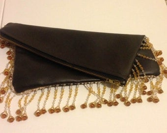 brown leather oversized clutch