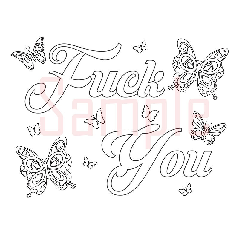 Sweary Coloring Page Fck You 1 Swearing Coloring By SueSwears