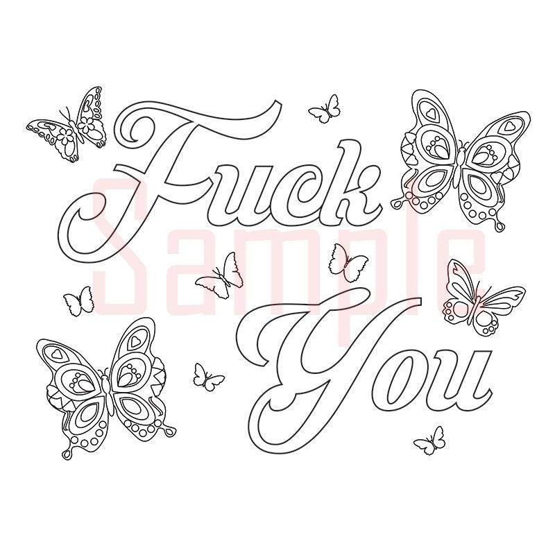 Swear Word Coloring Book Butterfly Publishing : Sweary Coloring Page Fck You 1 Swearing Coloring by SueSwears
