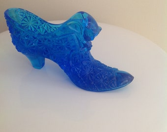Vintage cobalt blue glass shoe