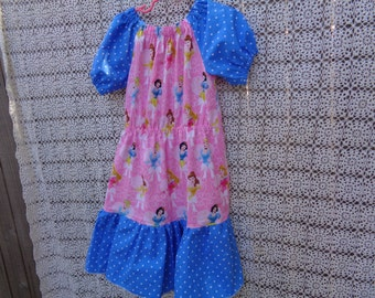 Pink Princess Ruffled Peasant Dress-Size 6