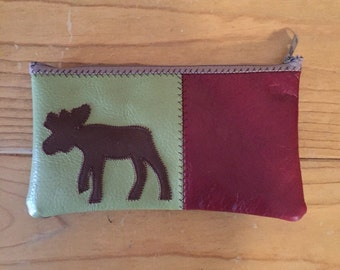 Leather moose zip bag