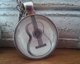 """Handcrafted Vintage -Style """"Guitar"""" Necklace"""