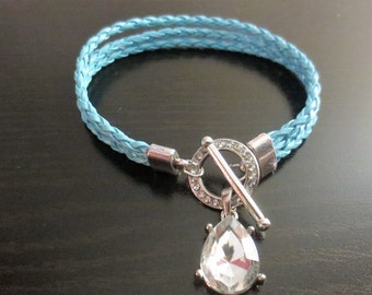 Teal blue leather bracelet with silver crystal toggle, made to order