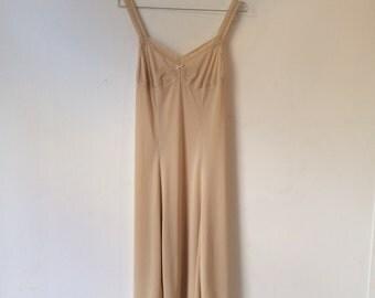 Vintage Cream Slip Dress with Lace Detail