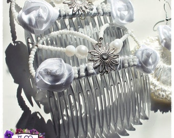 "Double hair combs model ""filigree"" Accounts and flowers. Flamenco Style"