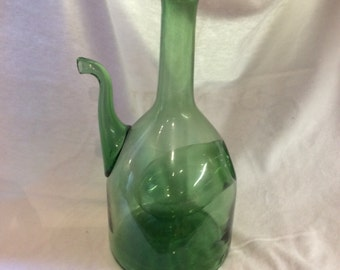 Italian Hand Blown Green Glass Decanter with Ice Compartment  Rustic Wine Water Juice Green or Colored  Glass Collectable