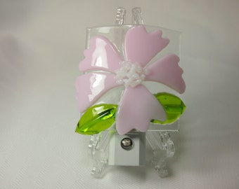 Night Light - Pink Flower Fused Glass
