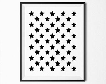 Stars print, Minimal print, Printable Nursery art, Printable art, Shapes print, Nursery wall art, Nursery art, Kids room decal
