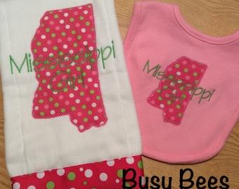 Mississippi Girl or Boy Burp Cloth and Bib Set