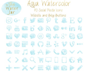 Aqua Watercolor Social Media Icons in Aquamarine Finish.  Blue Green Watercolor Social Icons, Blog Icons, Website Buttons, Commercial Use