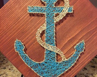 Anchor String art, nautical art, nautical string art, beach string art, beach decor, anchor art, sea art, custom anchor art, custom beach