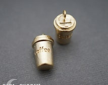 0382 - Pendant Connector, Matte Gold Plated, Miniature 3D realistic Coffee Take Out Cup Tumbler Charm Pendant, 2 Pieces