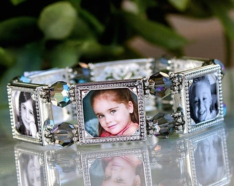 Photo Bracelet, Photo jewelry, Custom Photo Bracelet, Gift for Mom, Gift for Grandmother, Black Crystal 6 Photo Frame Bracelet