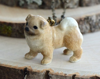 Hand Painted Porcelain Chow Chow Necklace, Antique Bronze Chain, Vintage Style Dog, Ceramic Animal Pendant & Chain (CA078)