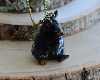 Hand Painted Porcelain Black Bear Cub Necklace, Antique Bronze Chain, Vintage Style Black Bear, Ceramic Animal Pendant & Chain (CA015)