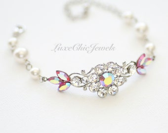 Bridal Bracelet, Swarovski Crystal and Pearl Bracelet, Wedding Jewellery - Sophia