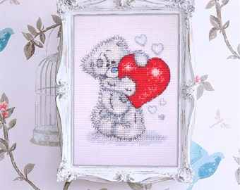 cross stitch Teddy handmade picture bear Teddy embroidery card Valentine's Day completed unframed