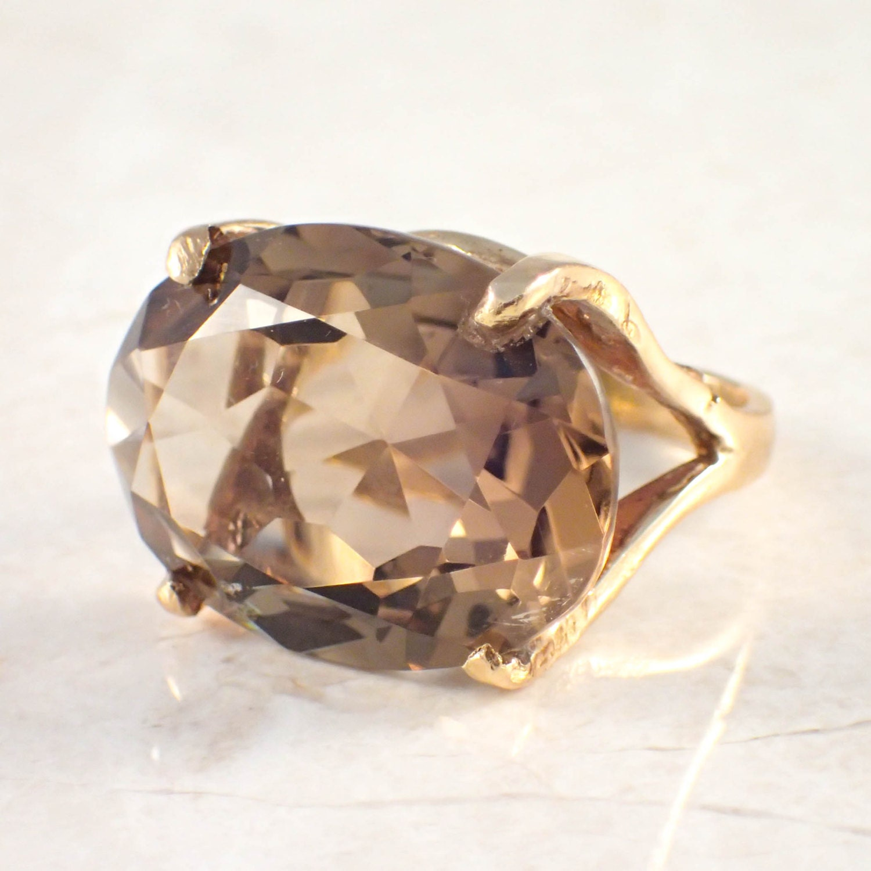14k yellow gold smoky topaz ring
