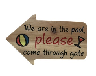 Pool Wood Carved Sign