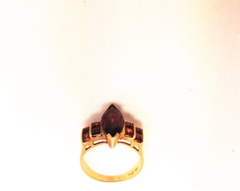 10K Yellow Gold Almondine Colored Ring