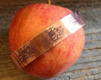 Bee Mine engraved copper cuff