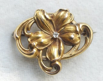 Victorian 10k Diamond Watch pin