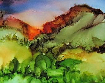 Little Landscape- Desert Sunrise- 5x7 Alcohol Ink Painting