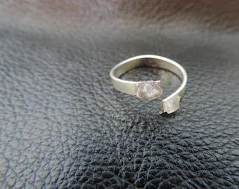 Raw Geode Ring B&W