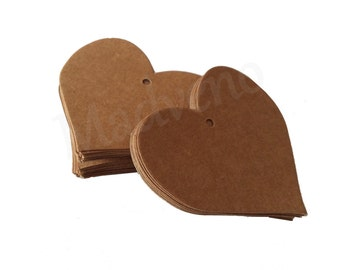 Lot of 20 labels cardboard forms heart Brown